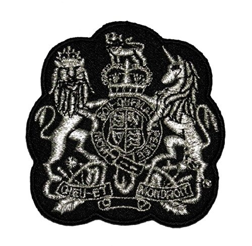 Silver Lion Unicorn Royal Crown Crest Coat of arms DIY Applique Embroidered Sew Iron on Patch COA-002 - Crest Crown Embroidery