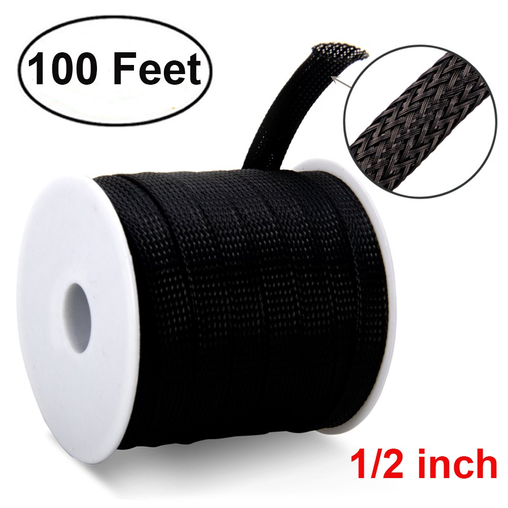 100ft -1/2 inch Flexible PET Expandable Braided Cable Sleeve, Premium Wires Sleeving Management and Organizer, Protector for TV, Audio, PC, and Other Home or Office Device Cords by MILAPEAK, Black