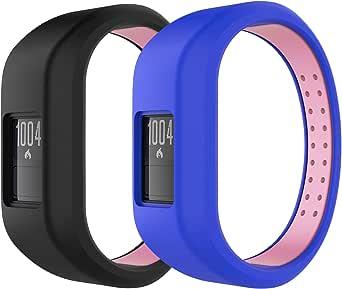 MoKo Armband compatibel met Garmin Vivofit 3, 2 stuks siliconen ademende vervangende horlogeband sportarmband band reserveband met sluiting