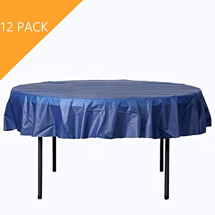 Astounding Orangehome 12 Pack Round Table Cloth 84 Inch Plastic Table Cover Wedding Birthday Party Disposable Table Cloth Deep Blue Download Free Architecture Designs Grimeyleaguecom