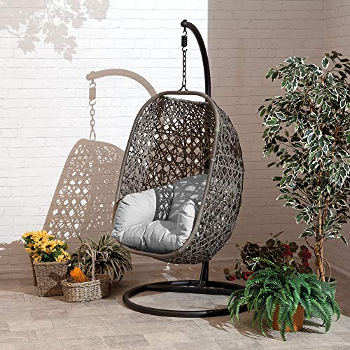 Brampton Luxury Rattan Hanging Egg Chair with Grey Cushions and Cover Single