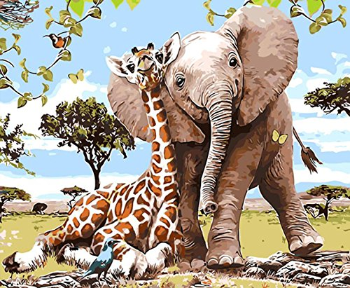 5D Diamond Painting by Number Kit, Full Drill The Giraffe and The Elephant Rhinestone Embroidery Cross Stitch Supply Arts Craft Canvas Wall Decor