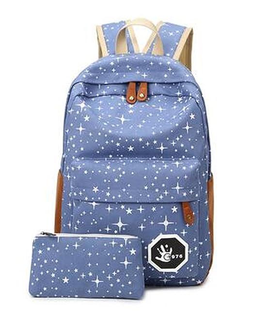 Minetom Lona Backpack Mochilas Escolares Mochila Escolar Casual Bolsa Viaje Moda Salpicado De Estrellas 2 Piezas