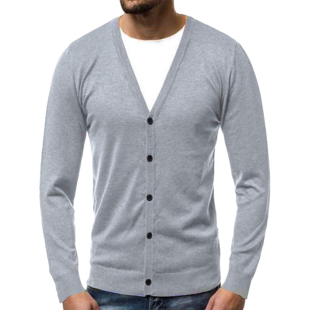 Caopixx Men's Autumn Winter Warm V-Neck Cardigan Button Knitted Sweater Pullover Blouse Tops Soft