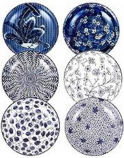 Swuut Ceramic Salad Plate Set,Blue and White 8 inch Serving Plates Floral Dinner Shallow Plates Set of 4, Serving Bread Appetizer Dessert Snack
