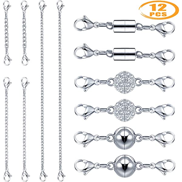 Paxcoo 16Pcs Magnetic Clasps and Chain Extender Set Necklace Extenders Magnetic Closures for Necklace Bracelet Jewelry Making Supplies