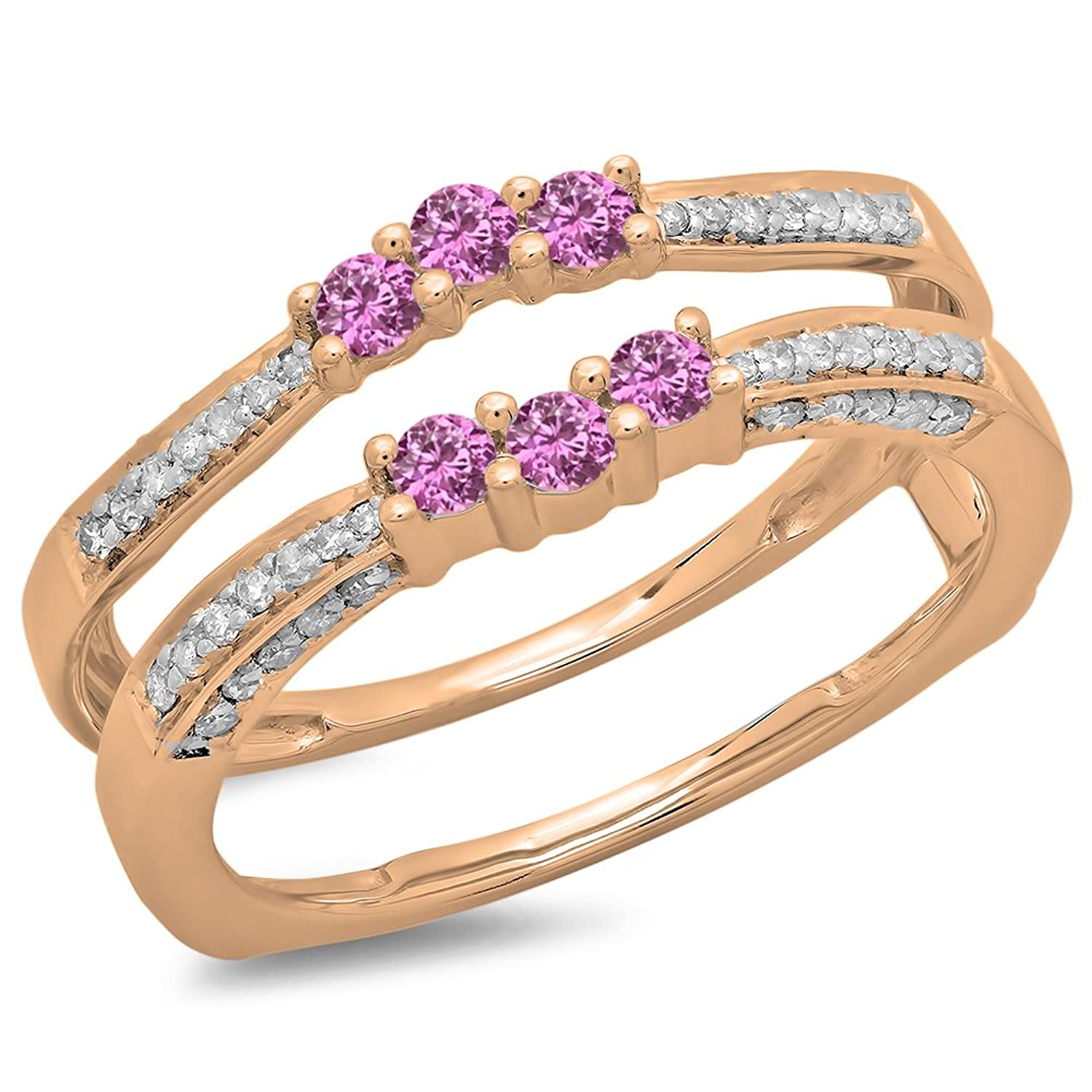 14K Gold Round Pink Sapphire & White Diamond Ladies Anniversary Wedding Band Enhancer Guard Double Ring