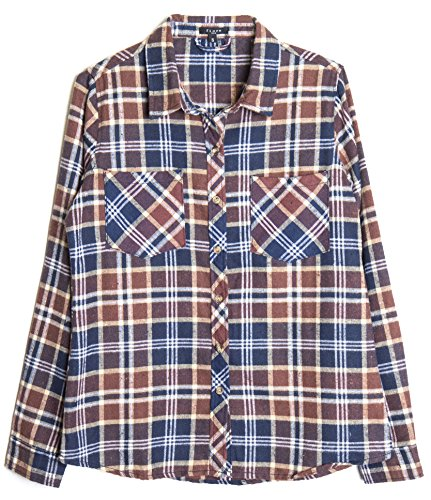 womens-roll-up-sleeve-plaid-check-flannel-shirt-small-brown-navy-1949