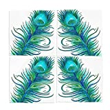 Ye Store Design Custom 4 Pieces Peacock Feather Green Cloth Napkins 12x12x4(in)