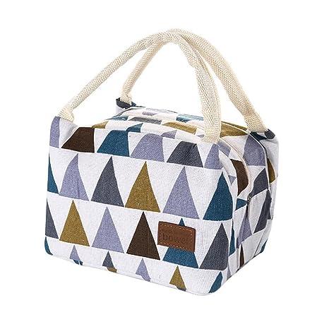Bolsas de almuerzo,Para mujeres niños hombres aislados lona caja Tote bolsa térmica nevera alimentos bolsas de almuerzo LMMVP (B, 21*14*15cm)