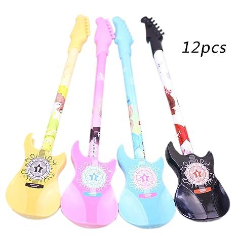 Westeng 12pcs Pluma de gel Forma de Guitarra Bolígrafos de Gel Creativas Papelería(Color aleatorio