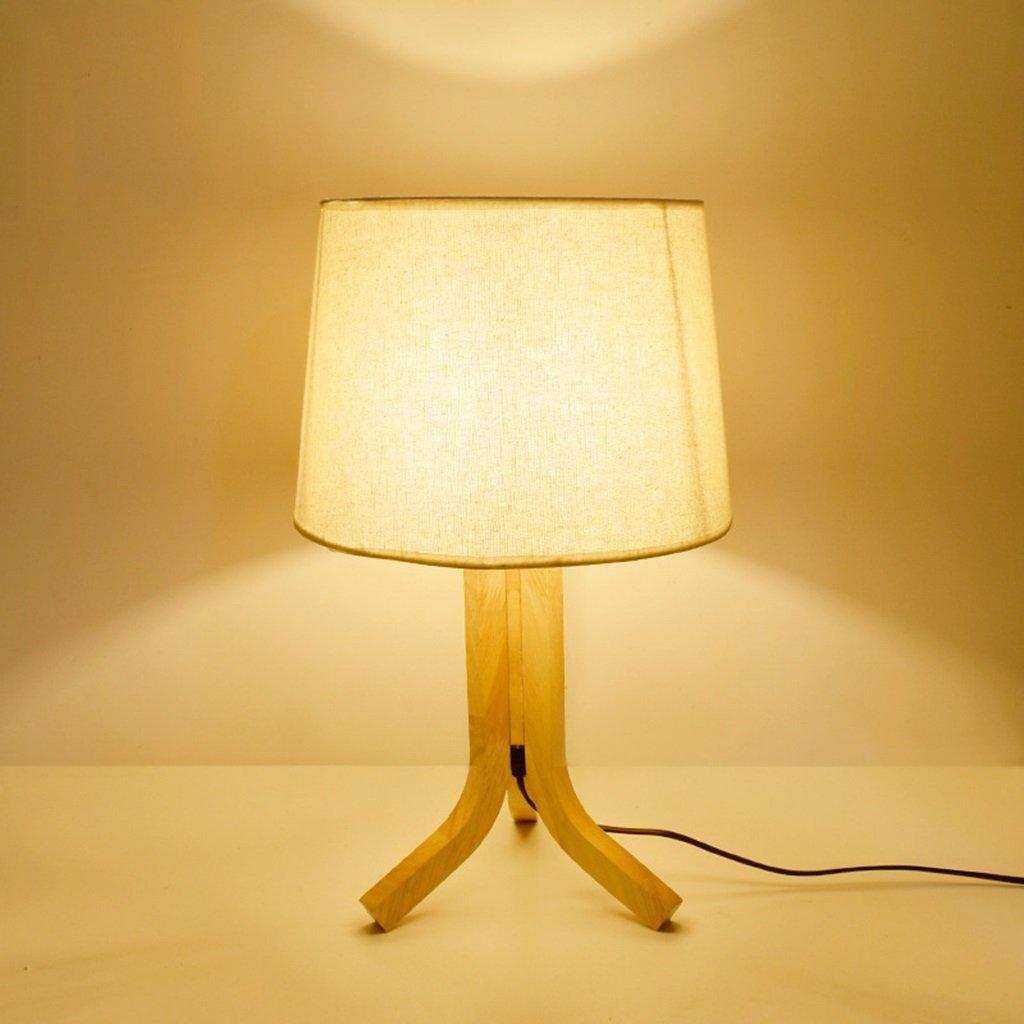 &Leselicht Holz Stativ Tischlampe, Schlafzimmer Nachttischlampe, Holztisch Lampe ( Farbe   Button (Without bulb) )