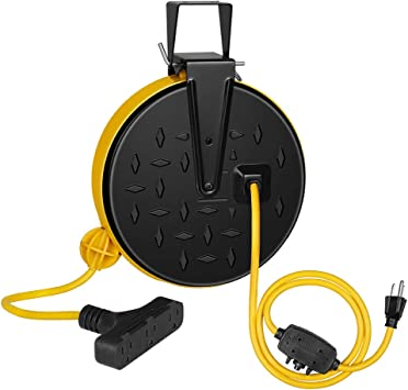 Amazon Com Dewenwils 30 Ft Retractable Extension Cord Reel Ceiling Wall Mount 16 3 Gauge Sjtw Power Cord With 3 Electrical Outlets Pigtail For Garage And Shop 10 Amp Circuit Breaker Metal Plate Etl Listed Electronics