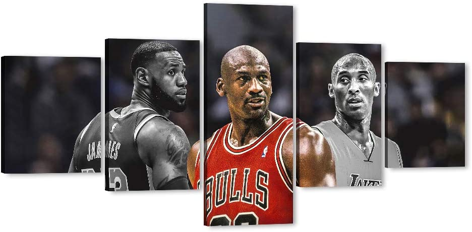 Michael-Jordan Kobe-Bryant Lebron-James Canvas Wall Art LA Lakers Sports Super Star Picture, Be Legend Artwork for Home Wall Decor, Men Boys Idol Canvas Print for Room Office Decor (50