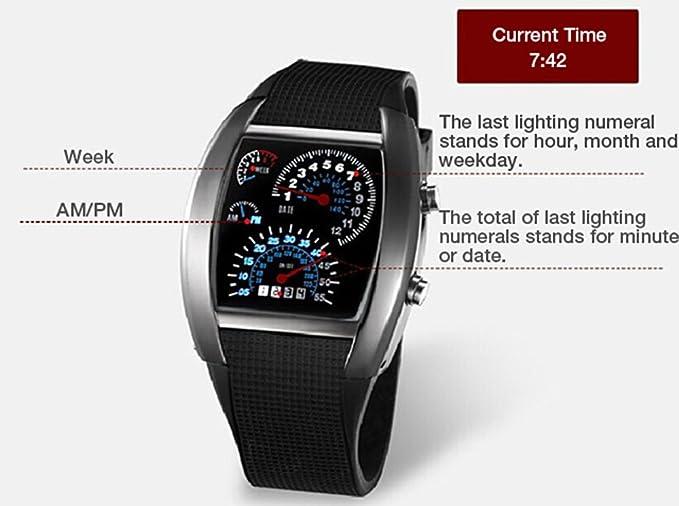 Unisex reloj de los deportes reloj de estilo LED Digital reloj de pulsera Reloj fresco único reloj de moda reloj (Orange): Amazon.es: Relojes