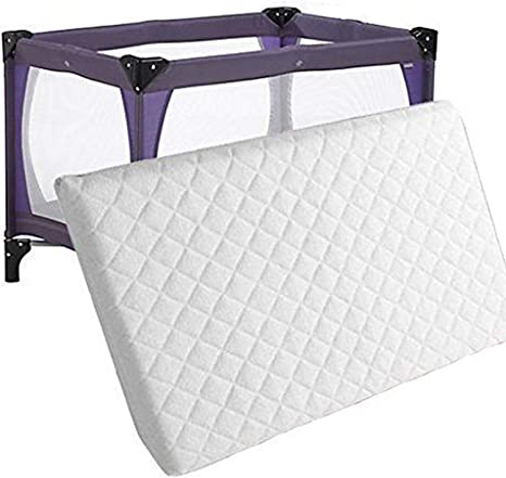Extra Thick Travel Cot Mattress Fully Breathable Mattress With Quilted Cover UK