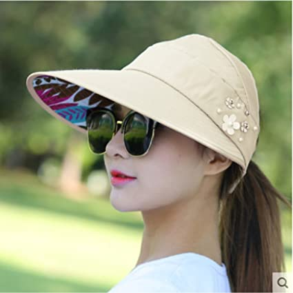 5aa61805094 Image Unavailable. Image not available for. Color  Sun Hats Sun Visor Hat  Sun Hats for Women with Big Heads Beach Hat Summer UV