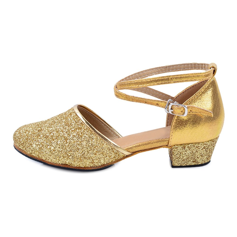 Girls Glittering Closed Toe Latin Salsa Ballroom Dance Shoes Party Pumps Gold Outdoor Tag 28 - 11.5 M Little Kid