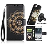 iPhone 8 Case,iPhone 7 Wallet Cases with Detachable Slim Case Fit Magnetic Car Mount, Card Solts Holder, CASEOWL Embossed Mandala Pattern Flower Floral Vegan Leather Flip Wallet Case [Black]