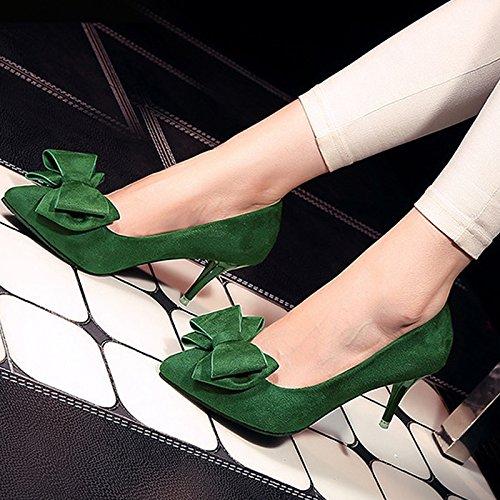 GAOLIM El Pequeño Número De La Princesa Primavera Pajarita Señaló Los Zapatos De Tacón Alto En Los Singles Femeninos Bajo Multa Con Rojo Y Verde Zapatos De Boda Verde oscuro