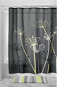 "iDesign Thistle Fabric Shower Curtain for Master, Guest, Kids', College Dorm Bathroom, 72"" x 72"", Gray and Yellow"