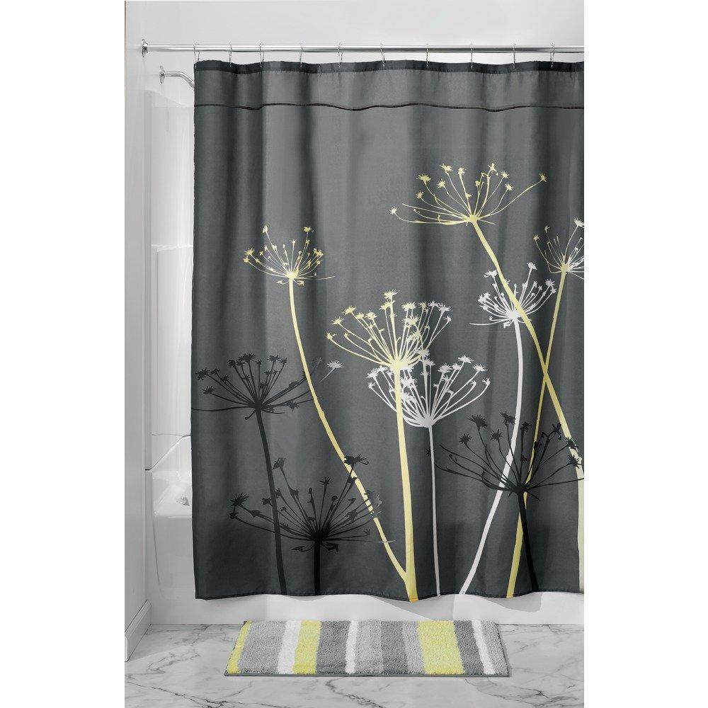 Gray shower curtain fabric - Amazon Com Interdesign Thistle Fabric Shower Curtain 72 X 72 Inch Gray Yellow Home Kitchen