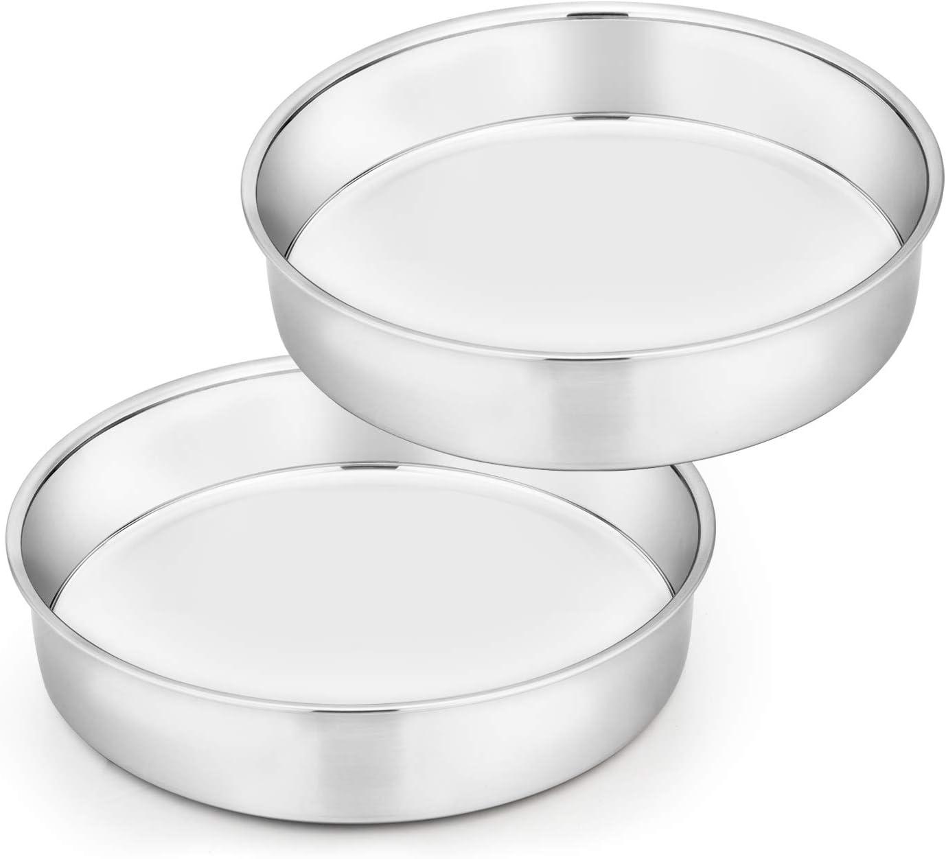 TeamFar Cake Pan Set of 2, 8 Inch Cake Pan Round Tier Cake Pan Set Stainless Steel, Healthy & Heavy Duty, Mirror Finish & Easy Clean, Dishwasher Safe