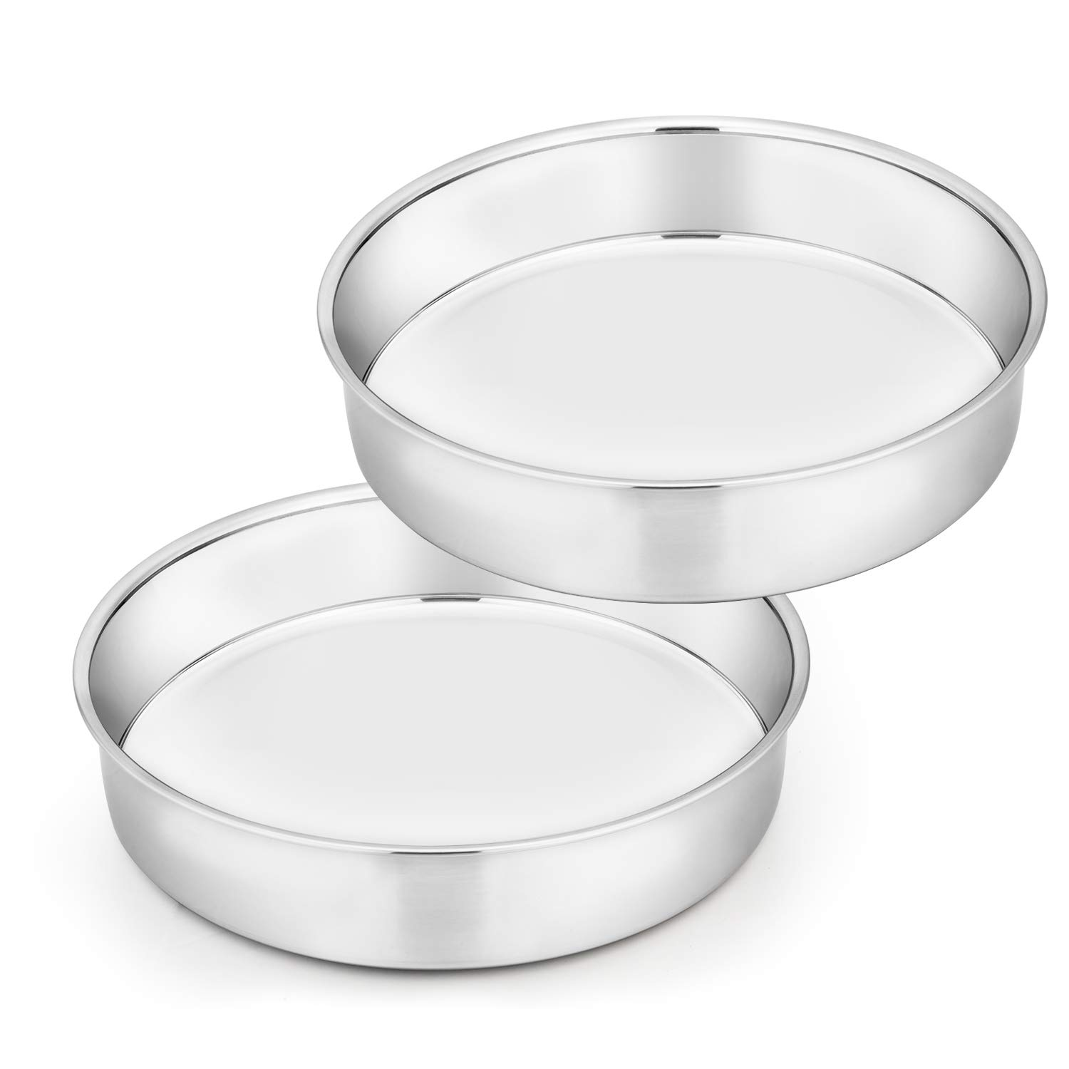 TeamFar Cake Pan Set of 2, 8 Inch Cake Pan Round Tier Cake Pan Set Stainless Steel, Healthy & Heavy Duty, Mirror Finish & Easy Clean, Dishwasher Safe by TeamFar