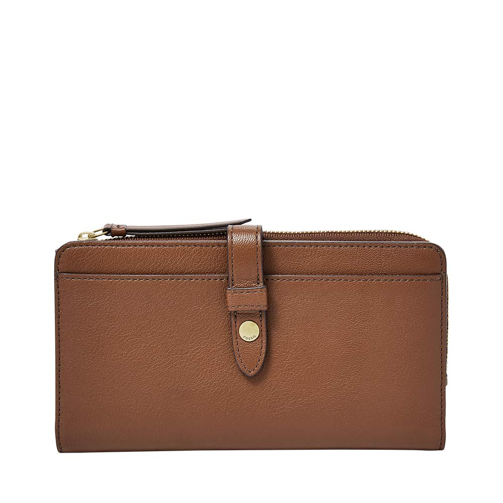 Brown Fossil Women Fiona Leather Tab Wallet