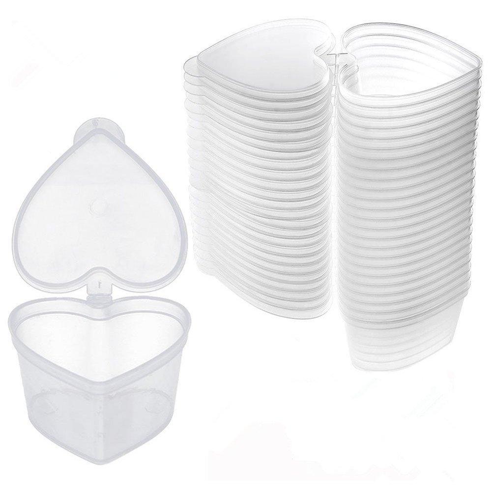 Da.Wa 10x Slime contenitore Foam Ball contenitori di stoccaggio di barattoli vasetti con coperchio per plastilina/Soft Clay 20g/19,8gram, Silicone, Transparent, Heart-shaped
