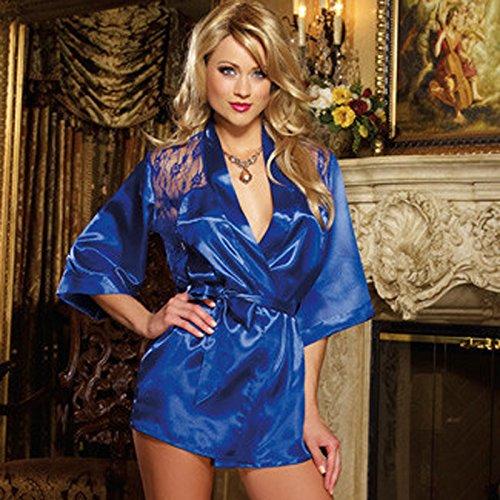 Tenflyer Ropa interior del cordón de Rose Albornoz sin respaldo de dormir camisón Ropa de noche atractiva de la ropa interior + T-back Azul
