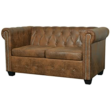 Festnight Chesterfield Sofa 2-Sitzer-Sofa Couch Loungesofa ...