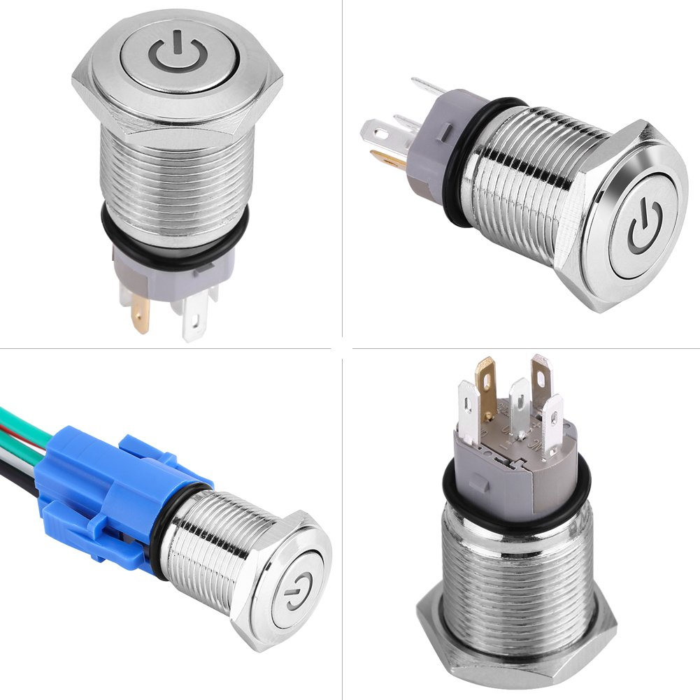 Akozon Switch Socket 16mm 12V Blue LED Metal Push Button Toggle Switch Socket Plug for Car Motorcycle Yatch