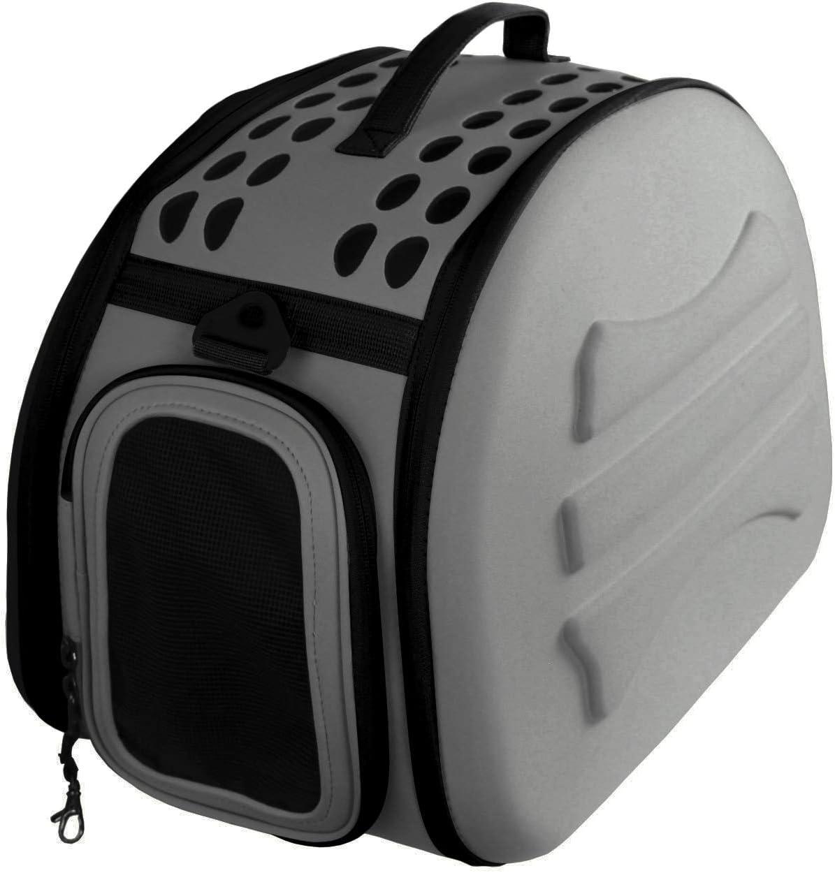 YATEK Transportin para Perros y Gatos Plegable y Lavable, Recomendado para Mascotas de hasta 6kg de Color Gris Oscuro