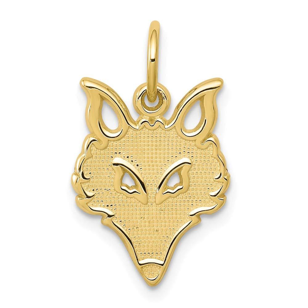 10k Yellow Gold Solid Flat Back Small Fox Head Charm