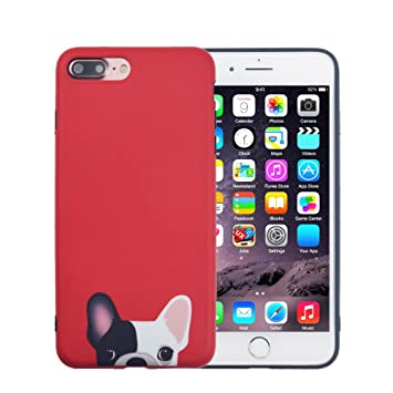23806698dd1 FACEVER Funda iPhone 8 Plus, Bonito Bulldog Francés Mate Anti-Huellas Suave  de Silicona