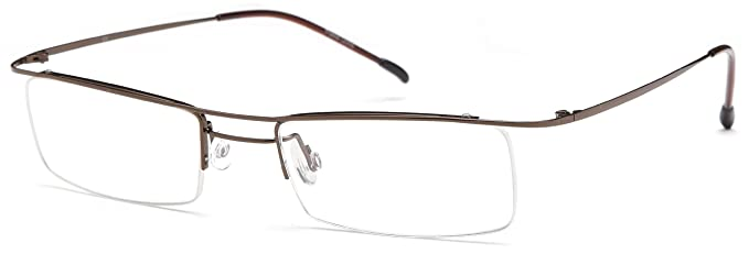 de29e7e3d6c Unisex Semi-Rimless Glasses Frames Brown Prescription Eyeglasses 49-17-135