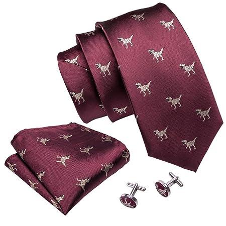 DERNON Corbata para Hombre Patrón de Dinosaurio Rojo para Hombre ...