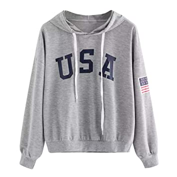 9978a786f7 Amazon.com: Sweatshirt, ZTY66 Women's USA Letter and Flag Printed ...