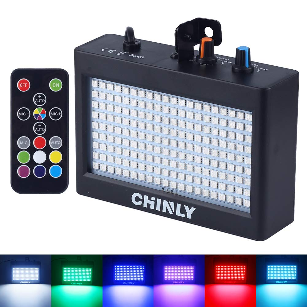Strobe Light, CHINLY LED Party Stage Lighting RGB 35W 180leds Sound Control Auto Operation Strobe Speed Portable Adjustable for Halloween Disco Bar Wedding Party KTV Concert Remote Control by CHINLY