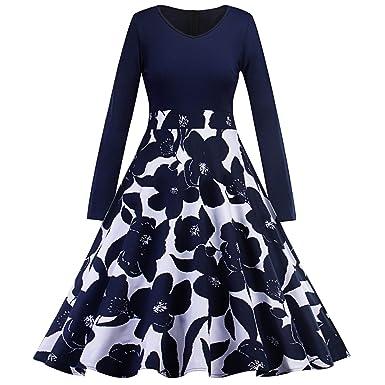 a6507184a53  Rockabilly Kleid Damen  V-Ausschnitt Langarm Kleid Elegant Audrey Hepburn  Kleid Festlich Kleid Partykleid Cocktailkleid Knielang-B-L  Amazon.de   Bekleidung