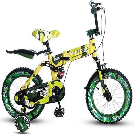 YUHT Bicicleta para niños, Bicicleta Plegable Soporte de Flores Bicicleta Plegable para niños 14 Bicicleta para niños 3-4-5 años Niña Bebé Niño Bicicleta de montaña Bicicleta Amarilla para niños: Amazon.es: Deportes y