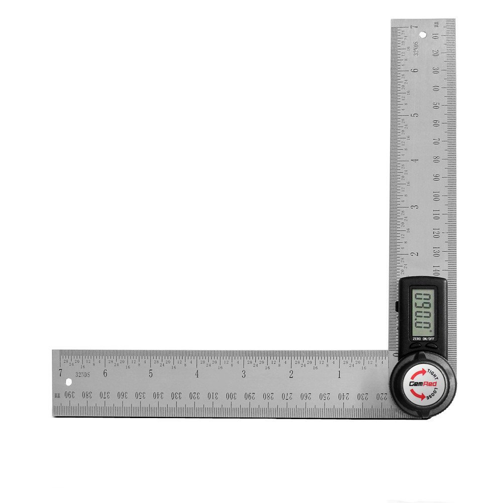 GemRed 82305 Digital Angle Finder 7-Inch Protractor (200mm Stainless Steel Angle Finder Ruler
