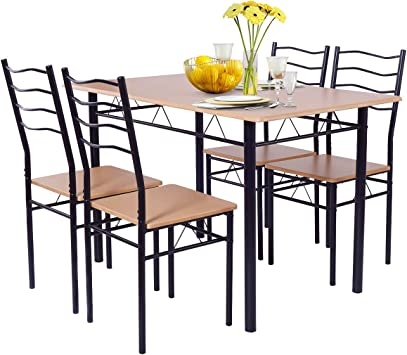 Amazon Com Giantex Modern 5 Piece Dining Table Set With 4 Chairs Metal Frame Wood Like Tabletop Kitchen Furniture Retangular Table Chair Sets For Dining Room Beech Wood Table Chair Sets