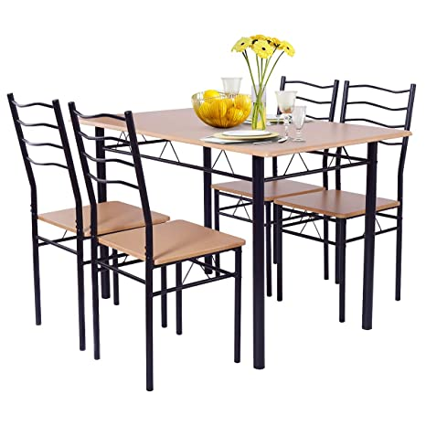 Giantex Modern 5 Piece Dining Table Set with 4 Chairs Metal Frame Wood Like  Tabletop Kitchen Furniture Retangular Table & Chair Sets for Dining Room ...