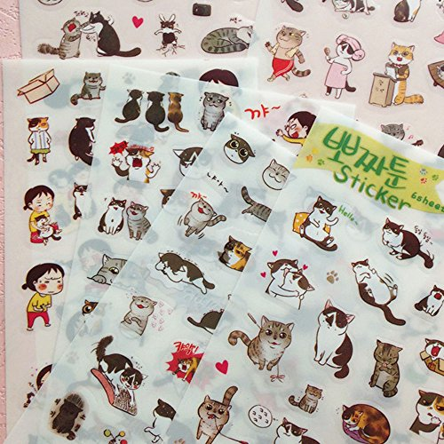 (6 Sheets of Cute Litte Black Cat Rules with Pink Kitten and Brown Kitty Stickers)