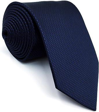 Shlax/&Wing Magra Cravatta da uomo Tinta Unita Dark Blu Navy Nozze Seta