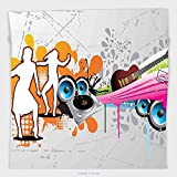 Vipsung Microfiber Ultra Soft Hand Towel-Grunge Music People With Turntable And Speakers Dancing Funky Urban Nights Guitar Print Multicolor For Hotel Spa Beach Pool Bath