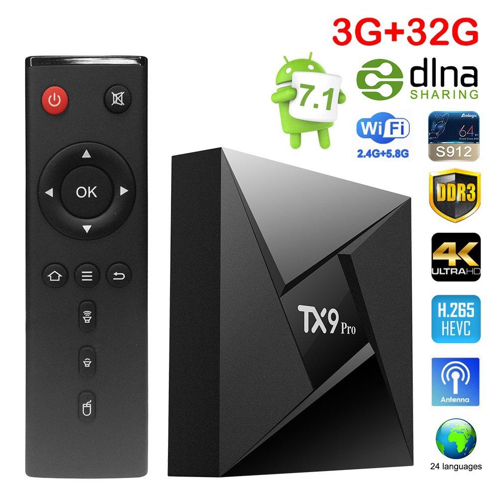 Sawpy TX9 PRO Smart tv box Android 7.1 Amlogic S912 3GB+32GB BT 4.0 2.4/5 Dual-Band WiFi 4K UHD & LAN VP9 DLNA H.265