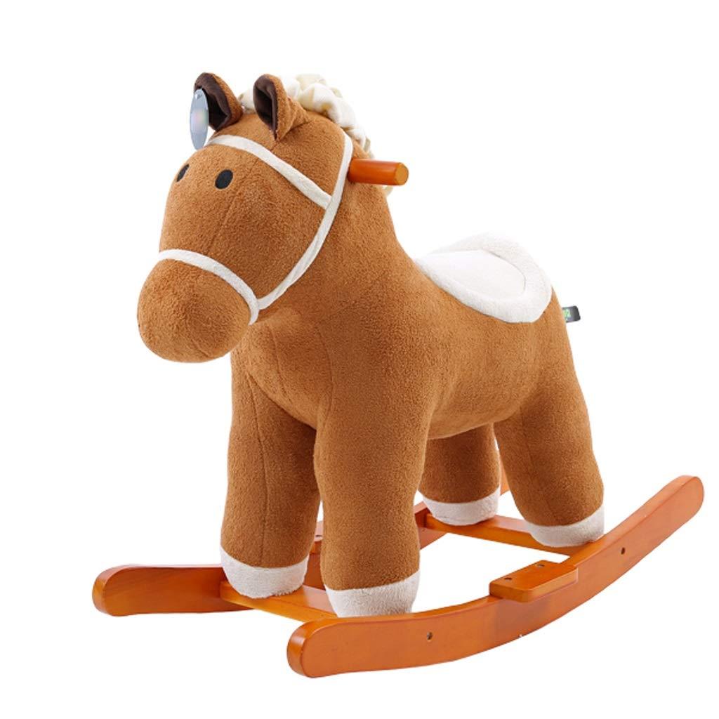 Cavallo a dondolo ZJING Musica Cavallo di Troia Dondolo culle a Dondolo per Bambini Giocattoli in Legno massello Sedia a Dondolo Compleanno Regalo di Compleanno (colore   Marronee)
